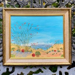 "Vintage oil painting: ""Ocotillo in the desert"""